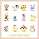 12 tecknade kinesiska zodiaken djur klistermärken — Stockvektor