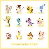 12 cartoon Chinese Zodiac animal stickers — Stock Vector