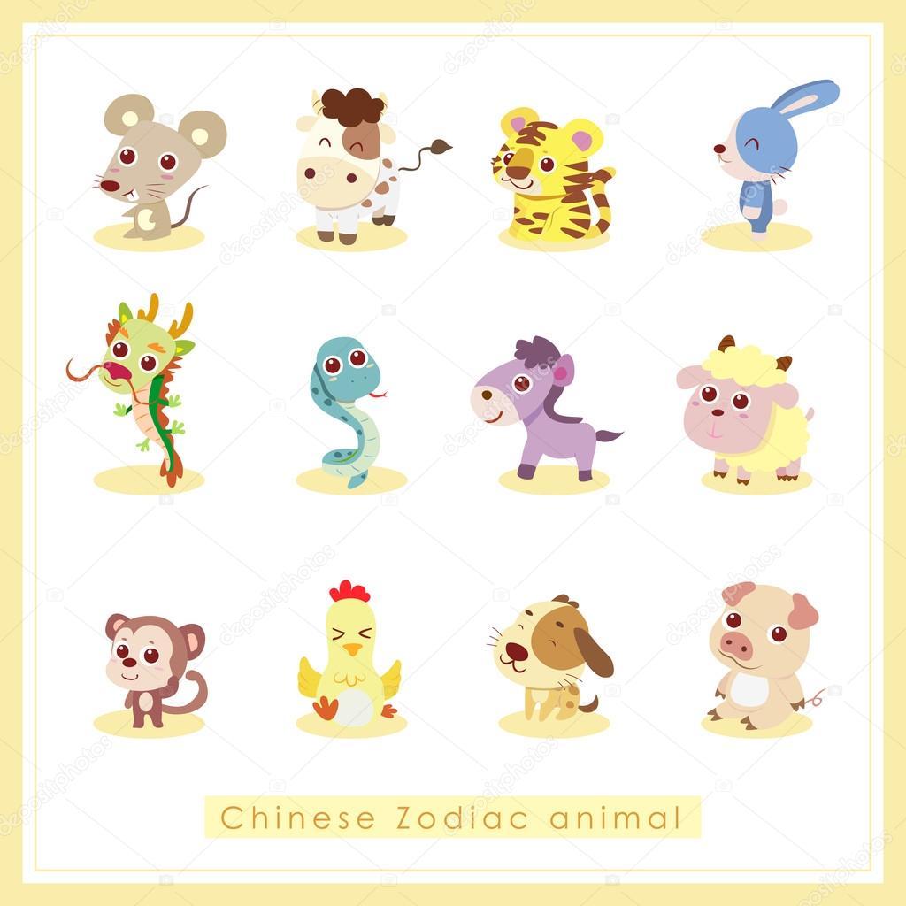 12 卡通十二生肖动物贴纸
