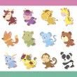 Royalty-Free Stock Vector Image: Cute cartoon animal icon set