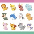 Cute cartoon animal icon set — Stock Vector