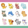 Cute cartoon animal icon set - Stock Vector