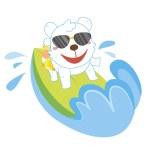 A polar bear beach activities — Stock Vector