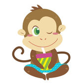 A monkey's beach activities — Stock Vector