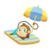 A monkey beach activities — Stock Vector