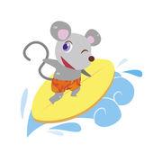 A mouse beach activities — Stock Vector
