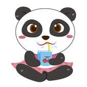 A panda beach activities — Stock Vector