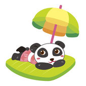 A panda beach activities — Stockvector