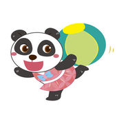 A panda beach activities — Vector de stock