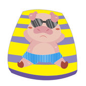 A pig beach activities — Vector de stock