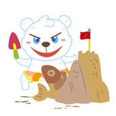 A polar bear beach activities — ストックベクタ