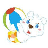 A polar bear beach activities — Vector de stock