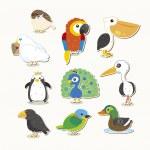 Cute vector bird set — Stock Vector #18443271