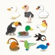 Cute vector bird set — Stock Vector