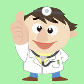 Cartoon doctor thumbs up — Vector de stock