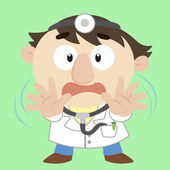 Cartoon doctor with a denial of action — Stock Vector