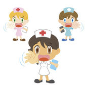 Cartoon nurse with a denial of action — Stock Vector