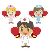Nurse raises her boxing gloves — Stock Vector