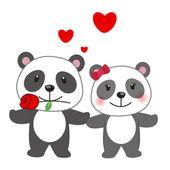 Illustration av ett par av panda — Stockvektor
