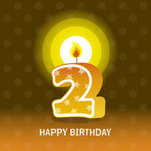 Birthday card, second birthday with candle — Vector de stock