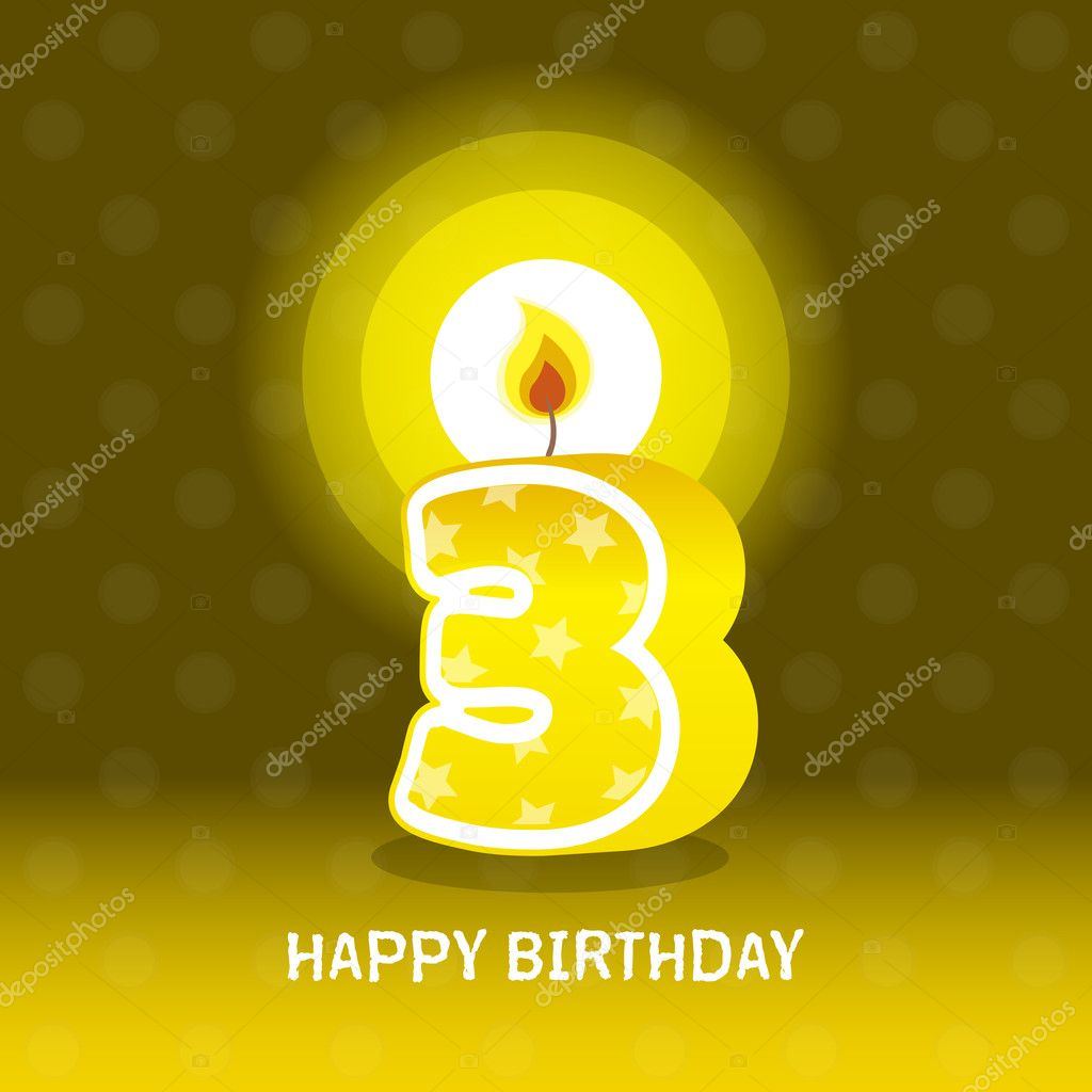Birthday card, third birthday with candle , number 3 — Stock Vector #18542037