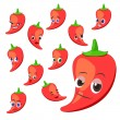 Hot pepper cartoon with many expressions — Stock Vector
