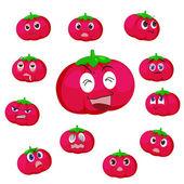 Tomato cartoon with many expressions — Stock Vector