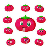 Tomato cartoon with many expressions — Stock Vector