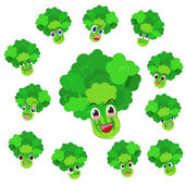 Celery cartoon with many expressions — Stock Vector