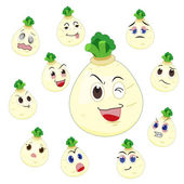 White turnip cartoon with many expressions — Stock Vector