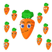 Carrot cartoon with many expressions — Stock Vector