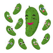 Cucumber cartoon with many expressions — Stock Vector
