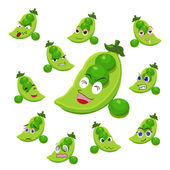 Pea cartoon with many expressions — Stock Vector