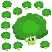 Broccoli cartoon with many expressions — Stock Vector