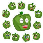 Green pepper cartoon with many expressions — Stock Vector