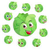 Cabbage cartoon with many expressions — Stock Vector