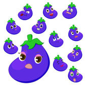 Eggplant cartoon with many expressions — Stock Vector