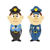 Funny cartoon policeman, two colors — Stock Vector