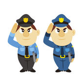 Funny cartoon policeman, two colors — Stock Vector
