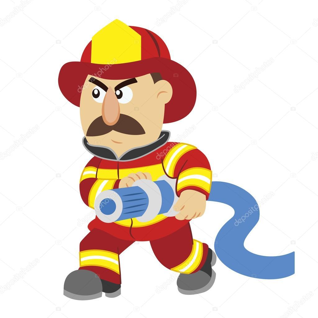 An illustration of cartoon fireman ,vector - Stock Illustration