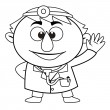 Outlined cute doctor — Stock Vector