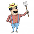 Cartoon Landscaper with Spade — Stock Vector