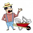 Cartoon Landscaper with Wheelbarrow and Garden Tools — Stock Vector