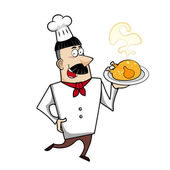 Cartoon Chef with Roast Chicken — Stock Vector