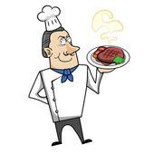 Cartoon Chef with Steak Dinner — Stock Vector