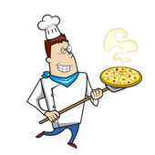 Cartoon Chef with Pizza — Stock Vector