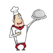 Cartoon Chef with Serving Tray — Stock Vector