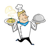 Cartoon Chef with Pasta Bowl and Serving Tray — Stock Vector