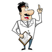 Cartoon Doctor with Clipboard — Stock Vector