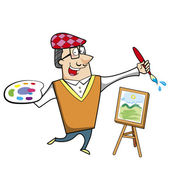 Cartoon Artist with Paintbrush and Canvas Easel — Stock Vector